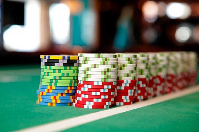 Casino chips in stacks